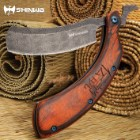"Shinwa Kamisori Bloodwood Folding Razor Knife - Stainless Steel Blade, Damascus Pattern Finish, Wooden Handle Scales - 6"" Closed"