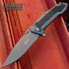Elite Tactical Carbon Fiber Pocket Knife - 8Cr13 Stainless Steel Blade, Tinite Coated, Stainless Steel And Carbon Fiber Handle, Pocket Clip