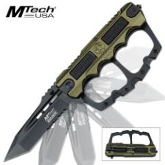 MTech Ballistic Assisted Open Knuckle Guard Folding Pocket Knife Green