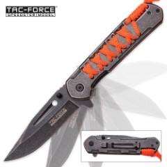 Tac Force Cordmaster Speedster Assisted Opening Pocket Knife with Orange Paracord
