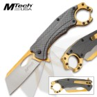 "MTech Golden Samurai Assisted Opening Pocket Knife – 3Cr13 Stainless Steel Blade, Anodized Aluminum Handle, Carabiner/Bottle Opener – Length 7 3/4"""