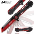 MTech Red Assisted Opening Pocket Knife - 3Cr13 Stainless Steel Blade, Anodized Aluminum Handle, Electroplated Liners, Pocket Clip