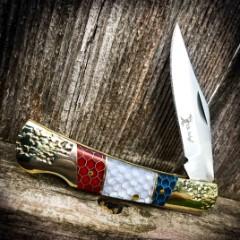 """Elk Ridge Patriotic Manual Pocket Knife - 3Cr13 Stainless Steel Blade, C-Tek Handle, Nickel Silver Bolsters And Pins - 3 1/2"""" Closed"""