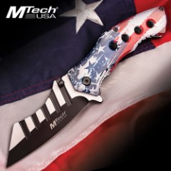 Distressed American Flag Pocket Knife - 3Cr13 Stainless Steel Blade, Aluminum Handle, Assisted Opening, Pocket Clip