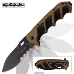 Tac Force Ironclad Speedster Assisted Opening Pocket Knife - Partially Serrated - Black and Tan