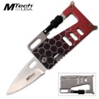 MTech USA Field Card Pocket Knife and Multi-Tool | Slimline Rectangular Design | Metallic Red