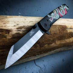 """Master Collection Black Chinese Dragon Pocket Knife – 3Cr13 Steel Blade, Aluminum Handle, Pocket Clip – 4 1/2"""" Closed"""