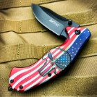 "MTech Assisted Opening Punisher US Flag Pocket Knife - 3Cr13 Steel Blade, Aluminum Handle, Pocket Clip - 4 3/4"" Closed"