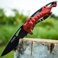 Tac Force Red Speedster Assisted Opening Pocket Knife - Half Serrated Blade; Red Handle, Black Liner