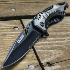 Tac-Force Spring Assist Shark Tactical Combo Edge Folding Knife