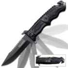 Black Tac-Force Spring Assist Military Fighter Folding Knife