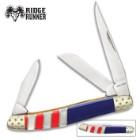 Ridge Runner American Flag Stockman Pocket Knife - 3Cr13 Stainless Steel Blade, Genuine Mother Of Pearl Handle, Nickel Silver Bolsters