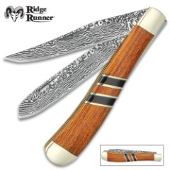 Ridge Runner Royal Admiralty Trapper Pocket Knife - 3Cr13 Stainless Steel Blades, Wooden Handle Scales, Nickel Silver Bolsters