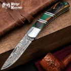 Ridge Runner Peacock Wood Lockback Pocket Knife - 3Cr13 Stainless Steel Blade, Damascus Pattern, Pakkawood Handle, Stainless Steel Bolster