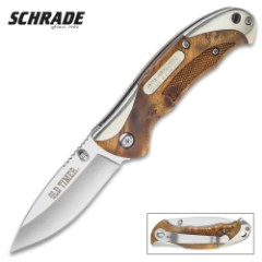Schrade Old Timer Ironwood Pocket Knife – Stainless Steel Clip Point Blade, Assisted Opening, Wooden Handle, Pocket Clip