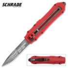 "Schrade OTF Special Red ""These Colors Don't Run"" Assisted Opening Pocket Knife"