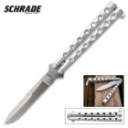 Schrade Manilla Balisong Pocket Knife - Butterfly Knife - D2 Tool Steel Double Edged Blade, Stainless Steel Handle - Length 9""