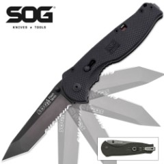 SOG Flash II TiNi Tanto Part Serrated Folding Knife