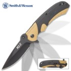 Smith & Wesson M&P Brown Pocket Knife – 8Cr13MoV Stainless Steel Blade, Manual Opening, Aluminum Handle, Rubber Inserts, Pocket Clip