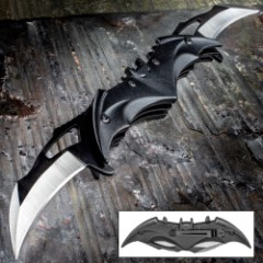 Bat Double Blade Black Assisted Opening Pocket Knife - Curved Stainless Steel Blades, TPU Handle, Pocket Clip - Length 11 1/4""