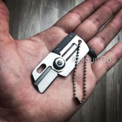 "3"" Mini Dog Tag Necklace Folding Knife Army EDC Tactical Neck Combat New"