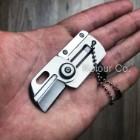 "3"" Mini Dog Tag Necklace Folding Knife Army EDC Tactical Neck Combat Keychain"