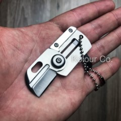 "3"" Mini Dog Tag Necklace Folding Knife Army EDC Tactical Neck Combat Keychain"