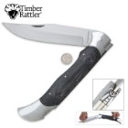 "Timber Rattler Scarab Back Giant Lockback Pocket Knife - 8"" Stainless Steel Blade, Genuine Pakkawood Scales - 17 3/4"" Length"