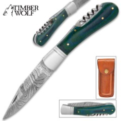 Timber Wolf Green Back Pocket Knife With Corkscrew - Damascus Steel Blade, Wooden Handle Scales, Stainless Steel Bolster, Brass Pins