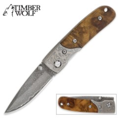 Timber Wolf Custom Damascus Pocket Knife