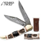 Timber Wolf Filework Hunter Pocket Knife Damascus