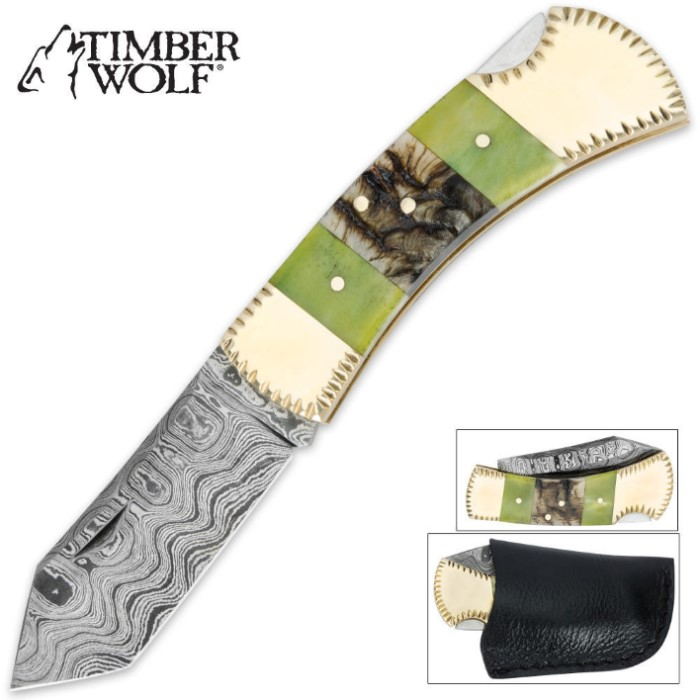 Timber Wolf Rams Horn Damascus Steel Pocket Knife