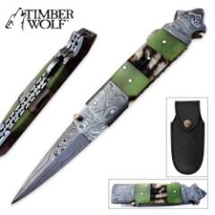 Timber Wolf Ram Horn Mosaic Pocket Knife