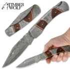 Timber Wolf Inlaid Rosewood & Damascus Steel Folding Pocket Knife