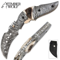 Timber Wolf Damascus & Stag Folding Karambit Knife With Sheath