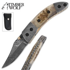 Timber Wolf Damascus & Stag Folding Pocket Knife