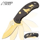 Timber Wolf Pack Leader Gold Bladed Assisted Opening Pocket Knife