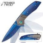 Timber Wolf Celestia Assisted Opening Pocket Knife - DamascTec Steel with Titanium Blue Finish