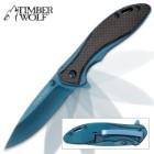 Timber Wolf Blue Titanium Pocket Knife