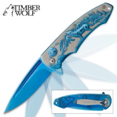 Timberwolf Moonlight Hunter Assisted Opening Pocket Knife - Blue