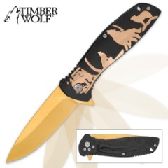 Timber Wolf Predator Moon Assisted Opening Pocket Knife - Gold