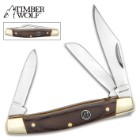 "Timber Wolf Brazilwood Stockman Traditional Pocket Knife / Folder - 420 Stainless Steel - 3 Blades: Clip, Spey, Sheepsfoot - Exotic Brazilwood - Versatile, Dependable Everyday Carry - 3 5/8"" Closed"