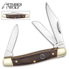 """Timber Wolf Brazilwood Stockman Traditional Pocket Knife / Folder - 420 Stainless Steel - 3 Blades: Clip, Spey, Sheepsfoot - Exotic Brazilwood - Versatile, Dependable Everyday Carry - 3 5/8"""" Closed"""