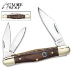 "Timber Wolf Brazilwood Fiddleback Traditional Pocket Knife - 420 Stainless Steel - 3 Blades: 2 Clip, Spey, Sheepsfoot - Exotic Brazilwood - Versatile, Dependable Everyday Carry - 3 5/8"" Closed"