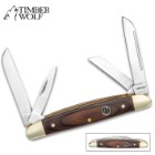 "Timber Wolf Brazilwood Congress Traditional Pocket Knife / Folder - 420 Stainless Steel, 4 Blades  - Exotic Brazilwood - Versatile, Dependable Everyday Carry; Collectible - 3 5/8"" Closed"