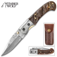 Timber Wolf Big Ram Pocket Knife With Belt Pouch - Damascus Steel Blade, Ram Horn Handle Scales, Fileworked Liners