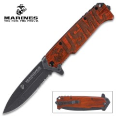 USMC Beachhead Partially Serrated Assisted Opening Pocket Knife
