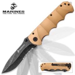 USMC Desert Warrior Assisted Opening Pocket Knife with Stonewashed Blade