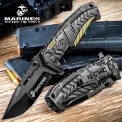 USMC Battlehard Tactical Folder / Assisted Opening Pocket Knife - 420 Stainless Steel, Anodized Aluminum, Black & Tan - Officially Licensed US Marines - Pocket Clip, Skull Crusher, One Handed Open