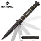 USMC Blackout Combat Stiletto - Assisted Opening Pocket Knife - Officially Licensed